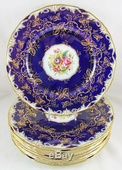 Set 4 Hand Painted Dinner Plates Royal Worcester China Z1486 Cobalt Gold Flower