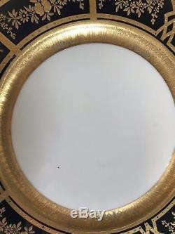 Set 4 Old Union T Raised Gold Coin Encrusted Gold Rose Cobalt Blue Dinner Plates