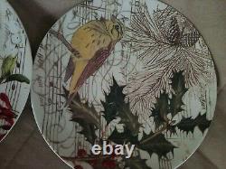 Set 4 Pottery Barn Songbird Dessert Salad Dinner Plates Christmas Birds