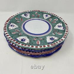 Set/4 Vintage VIETRI Italy SOLIMENE Hand Painted 10 BIRD Dinner Plates