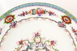 Set 5 Dinner Plates Antique Royal Cauldon China England H9120 Aqua Floral White
