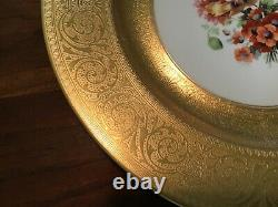 Set 6 Black Knight Hutschenreuther Heavy Gold Encrusted Floral Dinner Plates 10