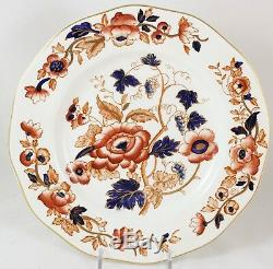 Set 6 Dinner Plates Wedgwood China Windermere Imari Orange Cobalt Gold Hand Deco