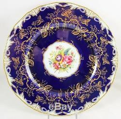 Set 6 Hand Painted Dinner Plates Royal Worcester China Z1486 Cobalt Gold Flower