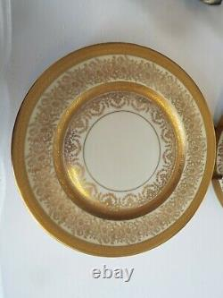 Set 6 Heinrich & Co Edgerton China H&c Gold Encrusted 11 Dinner Plates/chargers