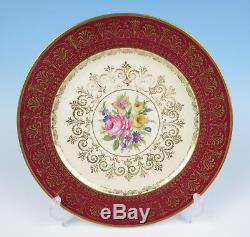 Set 6 Rosenthal Red Gold Filigree & Rose Bouquet Dinner Plates German Porcelain