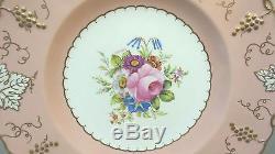 Set/6 Royal Crown Derby Porcelain Vine Pink Bouquet 10 3/8 Dinner Plates
