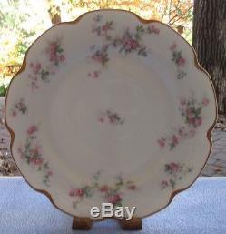 Set 7 Haviland Schleiger 681 Dinner Plates Pink & Blue Floral Silver Anniversary