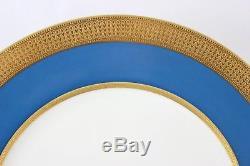 Set 8 Dinner Plates Lenox China M70c Turquoise Blue Raised Gold Encrusted Cream