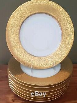 Set 8 Hutschenreuther Bavaria Charger Service Dinner Plates Encrusted HEAVY Gold