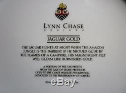Set 8 Lynn Chase Jaguar Gold 10 1/2 Dinner Plates Black & Gold