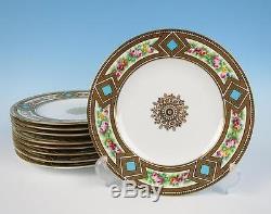Set 9 Antique English Porcelain Handpainted 9 Plates Coalport Copeland Dinner