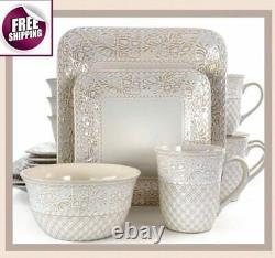 Set Dinnerware 16 Pcs Dishes Plate Mug Classic Vintage Modern Lotus Holiday New