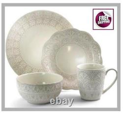 Set Dinnerware 16 Pcs Dishes Plate Mug Dinner Vintage Classic Holiday White New