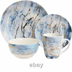 Set Dinnerware 16 Pcs Dishes Plate Mug Dinner Vintage Modern Marble Gold New