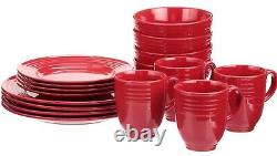 Set Dinnerware 16 Pcs Dishes Plate Mug Vintage Classic Modern Holiday Red New