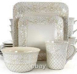 Set Dinnerware 16 Pcs Dishes Plate Mug Vintage Classic Modern Lotus Ivory New