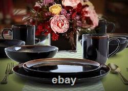 Set Dinnerware 16 Pcs Dishes Plate Mug Vintage Classic Modern Service Black New