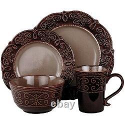 Set Dinnerware 16 Piece Dishes Plate Mug Classic Vintage Dinner Service New Free