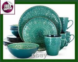 Set Dinnerware 16 Piece Dishes Plate Mug Vintage Mosaic Service Sea Green New