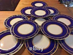 Set Of 12 Antique Minton Cobalt Blue And Raised Gold Trim 10-1/4 Dinner Plates
