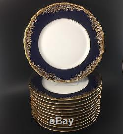 Set Of 12 Hutschenreuther Cobalt Gold Encrusted Dinner Plates Near Mint