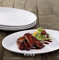 Set Of 12 Pure White Oval Dinner Plate Steak Plates Porcelain Plates 31cm x 20cm