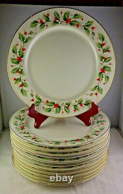 Set Of 12 Royal Gallery Holly 6283 Fine China Dinner Plates Christmas Xmas China