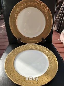 Set Of 2 Vintage Theodore Haviland Limoges Gold Encrusted Dinner Plate D 11