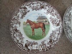 Set Of 4 Spode Woodland Horses Dinner Plates All New Price Reduced