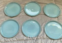 Set Of 6 Vintage Fire King Turquoise Blue Delphite 9 Dinner Plates J007