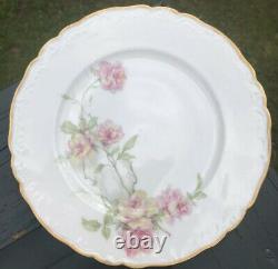 Set Of 7 Haviland Baltimore Rose Dinner Plate Pink Roses 1151