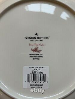 Set Of 8 Johnson Bros Twas The Night 10 1/4 Dinner Plates NEW