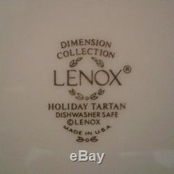 Set Of 8 Lenox Dimension Collection Holiday Tartan Dinner Plates Christmas USA