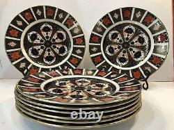 Set Of 8 Royal Crown Derby Old Imari 10 3/8 Dinner Plates 1st Quality MINT