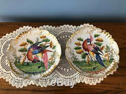 Set Of 9 Limoges France Gold Scalloped Bird Plates Ovington Bros NY (Some As-Is)
