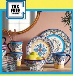 Set Zanzibar Dinnerware Multi Colors 16 Pcs Dishes Plate Mug Spanish Floral New