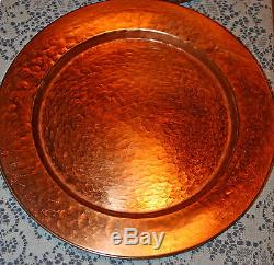 Set of 10 13 Hammered Round Copper Charger Dinner Plates NICE EUC