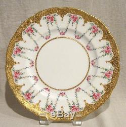 Set of 10 Minton Dinner Plates with Ornate Gold Trim H 2389 Globe Mark