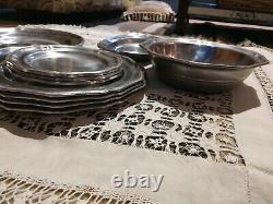 Set of 10 Queen Anne Matching Set PEWTEREX Dinner, Trays, Small Plates, AndMore