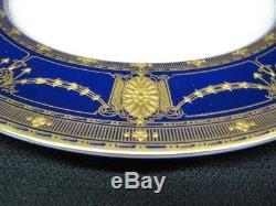 Set of 11 Circa 1915 Royal Worcester Heavily Gilded Cobalt 10.5 Dinner Plates