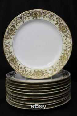 Set of 11 Noritake Morimura Gold CHRISTMAS BALL #16034 10 Dinner Plates, Japan