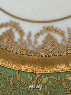 Set of 12 Antique Porcelain Dinner Plates w 22k Gold & Green borders Heinrich &