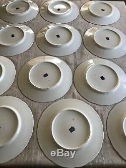 Set of 12 Baronet Czechoslovakia Maroon Floral Dinner Plates Made in Bohemia