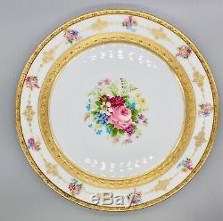 Set of 12 Charles Ahrenfeldt LIMOGES Dinner Plates Hand painted Gold Encrusted
