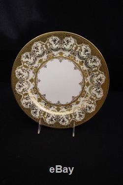 Set of 12 Coalport Heavily Gilded Edwardian Dinner or Service Plates