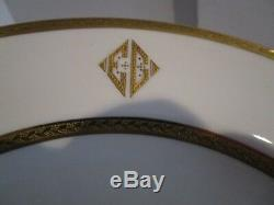 Set of 12 Copeland SPODE 10.5 Gold Encrusted Dinner Plates Charles R. Lynde