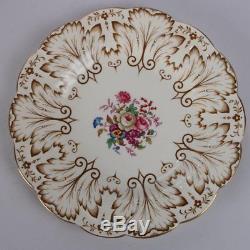 Set of 12 English Royal Cauldron Porcelain Dinner Plates, Floral and Gilt