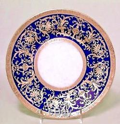 Set of 12 English Victorian Cobalt Blue Porcelain and Gold Rimmed Dinner Plates