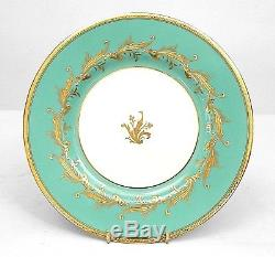 Set of 12 English Victorian Turquoise and White Minton Porcelain Dinner Plates